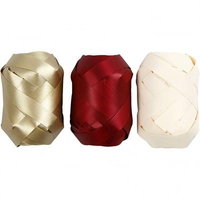 Хартиена лента, 10 mm, 10m, 3бр., златист/червен/бежов