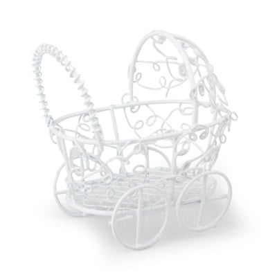 Миниатюра Бебешка количка, 7 х 7 cm, бяла