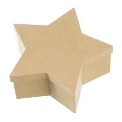 Кутия папиемаше, Звезда, 30 x 30 x 12 cm, кафява