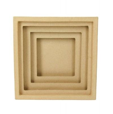 Кутия папиемаше 3D, Квадрат, 20 x 20 x 6 cm, кафява