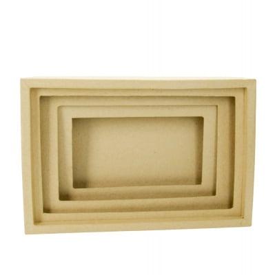 Кутия папиемаше 3D, Правоъгълник, 27 x 17 x 6 cm, кафява