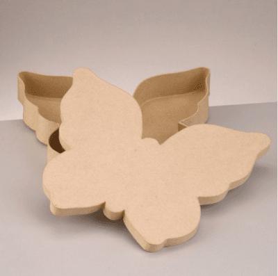 Кутия от папиемаше, Пеперуда, 23.5 х 28 х 4cm, кафява