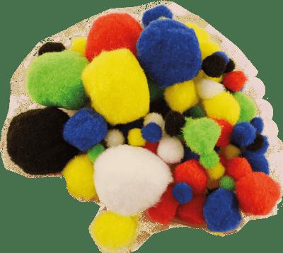 Помпони, ф 10 - 45 mm, разноцветни, 100 бр.