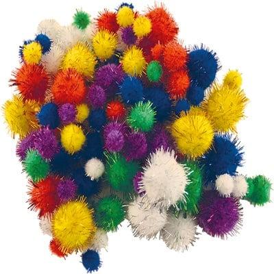 Помпони, ф 10 - 25 mm, блестящи разноцветни, 100 бр.