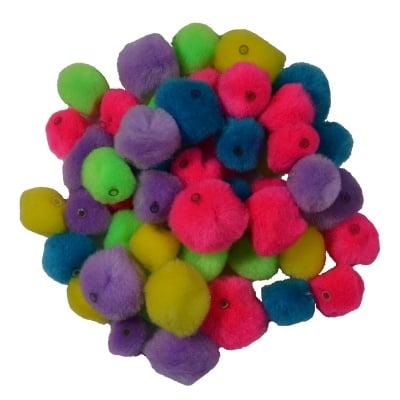 Помпони, ф 15 - 20 mm, разноцветни с отвор, 50 бр.