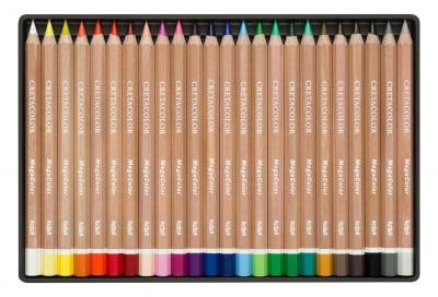 Цветни моливи Mega Color, комплект 24 цвята в метална кутия