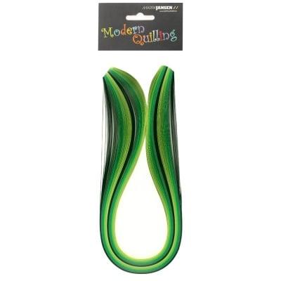 Ленти, Quilling, 5 mm x 48 cm, 100 ленти, зелена гама