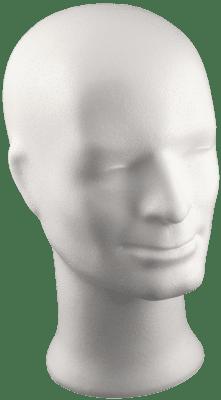 Глава мъжка от стиропор, бял, H 330 mm