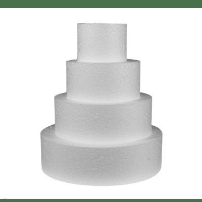 Торта на 4 етажа от стиропор, бял, H 35 cm, ф 25 cm