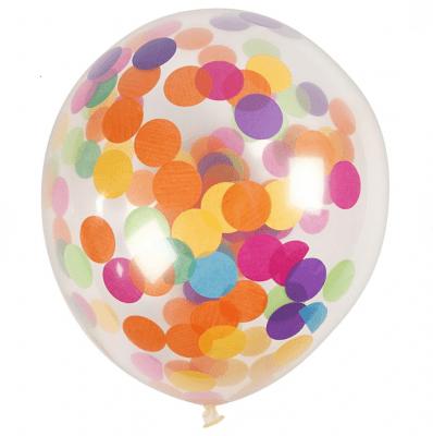 Балони с конфети, 23 cm, 4 бр., прозрачни