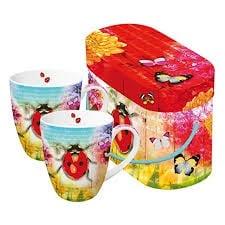 Комплект порцеланови чаши Ladybug & Flowers, 2 бр.