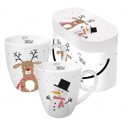 Комплект порцеланови чаши Snow friends, 2 бр.