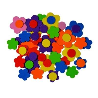 Комплект деко фигурки Цветя от пеногума, 20 бр.