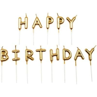 Комплект свещички, Happy Birthday, злато