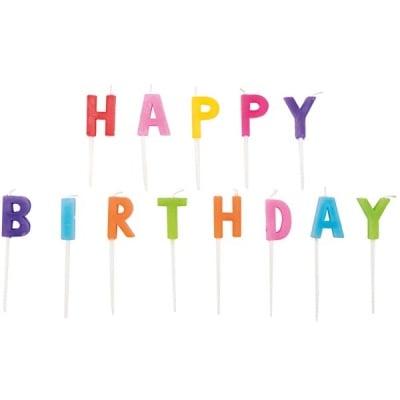 Комплект свещички, Happy Birthday, разноцветни