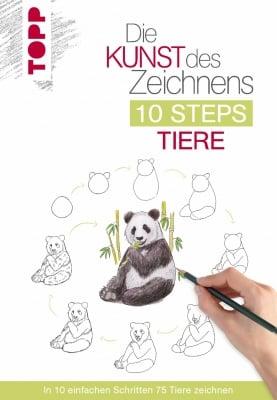 Книга на немски език TOPP, Die Kunst des Zeichnens 10 Steps - Tiere, 128 стр.