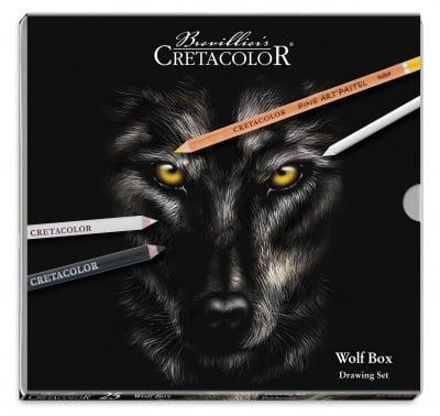 Комплект художествен Cretacolor, WOLF BOX, метална кутия, 25 части