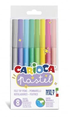 Комплект флумастери Carioca, Pastel, 8 цвята