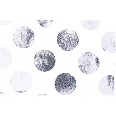 Тишу хартия, 17 g/m2, 50 x 70 cm, 4л., бялa/ сребристи точки