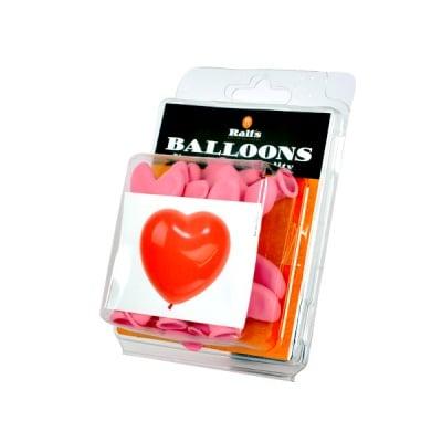 Балон с форма на сърце, ф 15 cm, 10 бр., розов