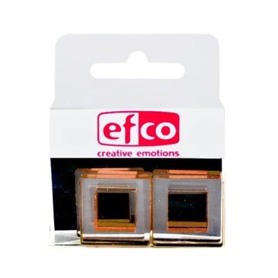 Бижу Acryl Duo, квадрат, 4 / 22 mm, 5 броя, прозрачни, златист оттенък