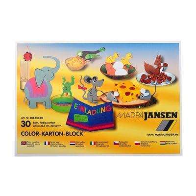 Блок 30л. цветен картон, 22,5х32,5 cm, 10 цвята
