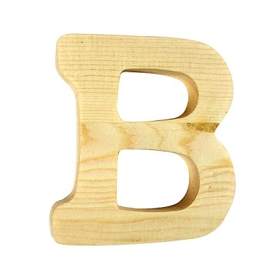 """Буква декоративна RicoDesign, """"B"""", натурално дърво, 8 cm"""