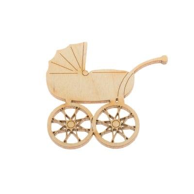 Деко фигурка бебешка количка, дърво, 50 mm