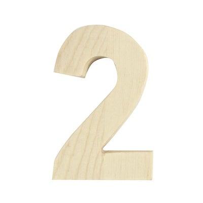 "Цифра декоративна RicoDesign, ""2"", натурално дърво, 8 cm"