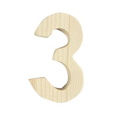 "Цифра декоративна RicoDesign, ""3"", натурално дърво, 8 cm"