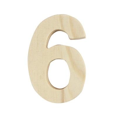"Цифра декоративна RicoDesign, ""6"", натурално дърво, 8 cm"