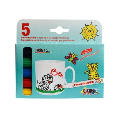 Комплект маркер PorcelainPen, връх-четка 1-3 mm, 5 цвята