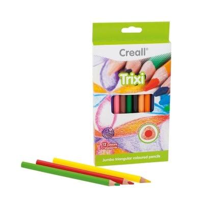 Комплект цветни моливи CREALL Trixi, лакирани, 12 цвята