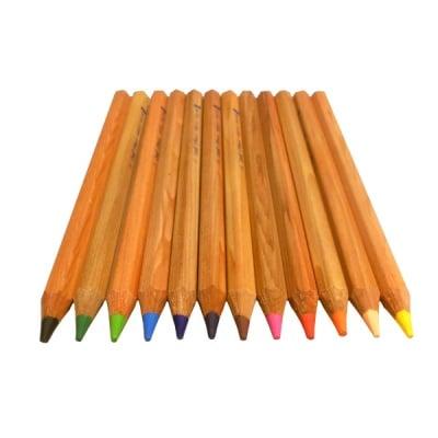 Комплект цветни моливи CREALL Maxi, натурални, 12 цвята, 12 бр.