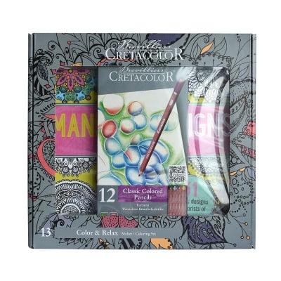 Книга за оцветяване за възрастни в комплект с цветни моливи Karmina
