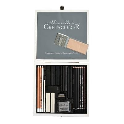 Комплект за графика Black & White, дървена кутия, 25 части