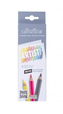 Комплект моливи Artist Studio MEGA, Neon+Graphite, 6 бр