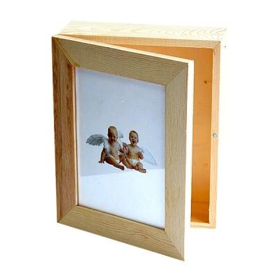 Дървена кутия с рамка за снимка, 19 х 15.5 х 6 см,  натурална