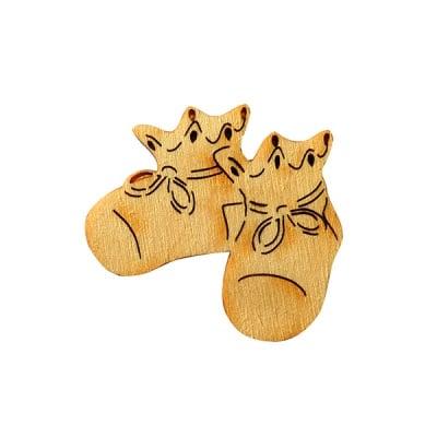 Деко фигурка бебешки обувки, дърво, 30 mm