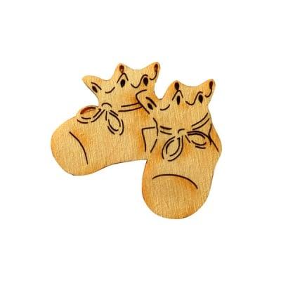 Деко фигурка бебешки обувки, дърво, 43 mm