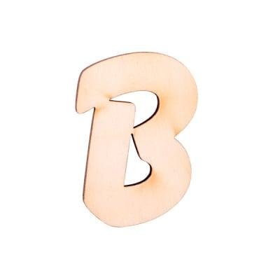 """Деко фигурка буква """"B"""", дърво, 28 mm"""