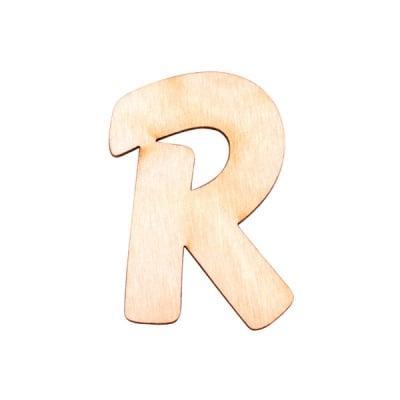 """Деко фигурка буква """"R"""", дърво, 50 mm"""