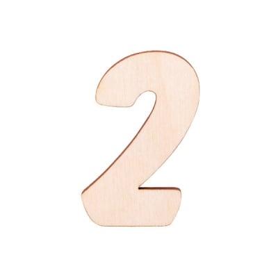 """Деко фигурка цифра """"2"""", дърво, 50 mm"""