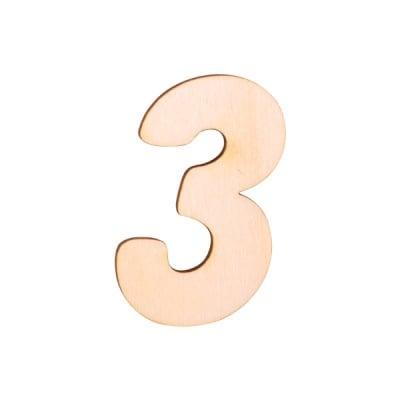 """Деко фигурка цифра """"3"""", дърво, 50 mm"""
