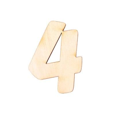 """Деко фигурка цифра """"4"""", дърво, 50 mm"""