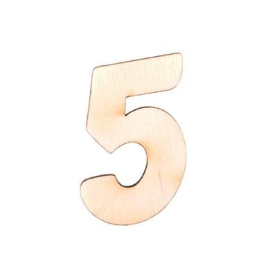 """Деко фигурка цифра """"5"""", дърво, 50 mm"""