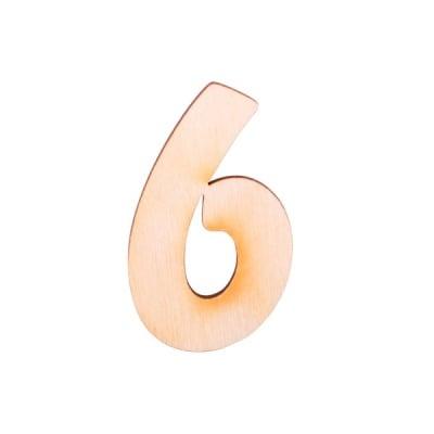 """Деко фигурка цифра """"6"""", дърво, 28 mm"""