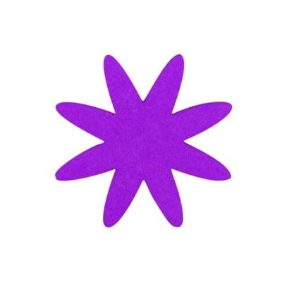 Деко фигурка цвете 8 листно, филц, 60 mm, лилаво