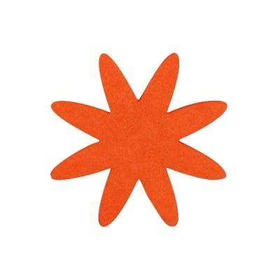 Деко фигурка цвете 8 листно, филц, 60 mm, оранжево