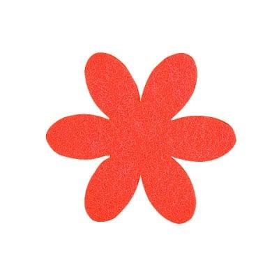 Деко фигурка цвете, филц, 50 mm, червено